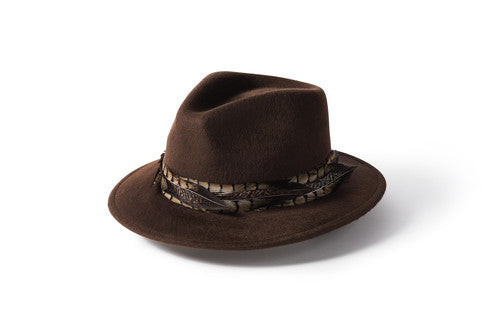 Feather Band Fedora - Brown
