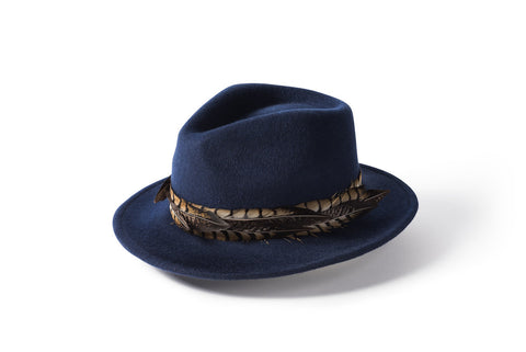 Feather Band Fedora - Navy
