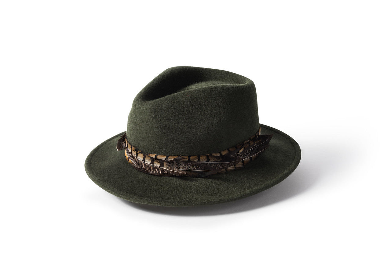 Feather Band Fedora - Green