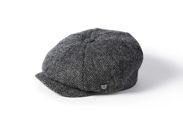Harris Tweed Baker Boy - Grey Herringbone