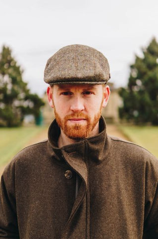 Harris Tweed Flat Cap - Green Herringbone Check