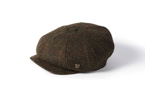 Harris Tweed Baker Boy - Green Plum Check