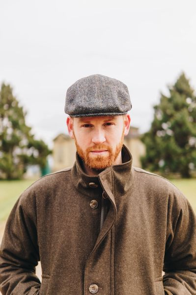 Harris Tweed Flat Cap - Grey Windowpane