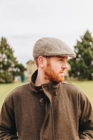 Harris Tweed Flat Cap - Lovat Green Herringbone
