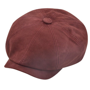 Leather Newsboy Baker Boy - Claret