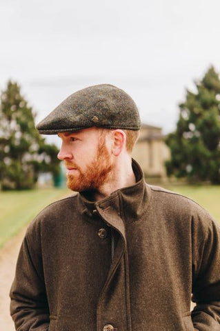 Harris Tweed Flat Cap - Multi Green