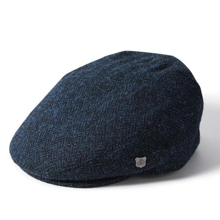 Harris Tweed Flat Cap - Navy Herringbone