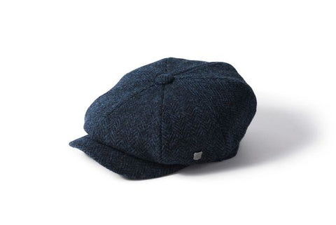 Harris Tweed Baker Boy - Navy Herringbone