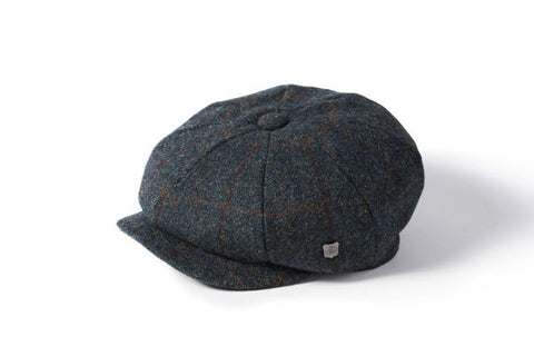Harris Tweed Baker Boy - Navy Herringbone Check