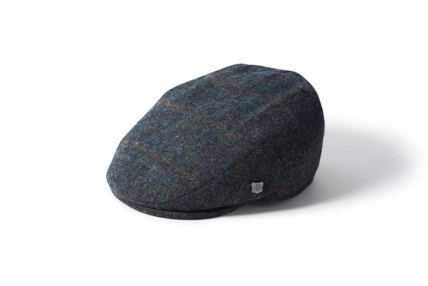 Harris Tweed Flat Cap - Navy Herringbone Check