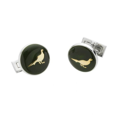 Pheasant Cufflinks - Racing Green