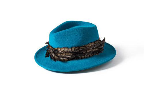 Feather Band Fedora  Teal