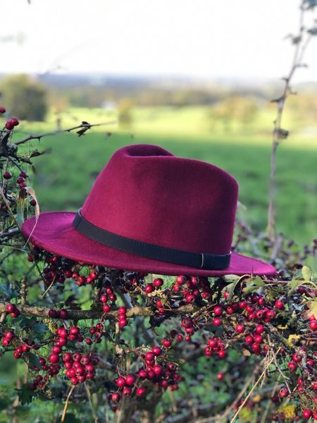 Fedora Leather Band Berry