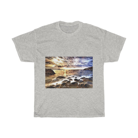 Beach Gravel, Sea, Water, Sunlight, Horizon, Scenery, Nature, Landscape, Creative, Artistic, Unisex Tee Shirt