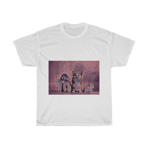 Image of Dog, Cat, Cute, Animal, Creative, Artistic, Unisex Tee Shirt