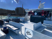 dance floor and dj booth and void sound system and vip areas of the ibiza boat club