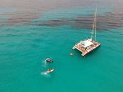 catamaran drone picture with jet skis