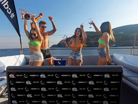 group in the vip area of the ibiza boat club