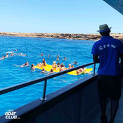 view from the jump board on ibiza boat club in formentera
