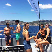 happy group in VIP area of the ibiza boat club