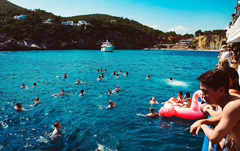 swim stop of the ibiza boat club with water toys
