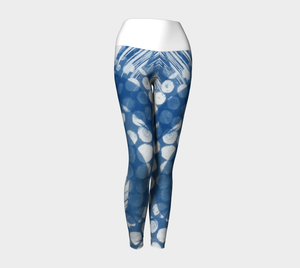 Yoga leggings created from cyanotype designs, with white band.
