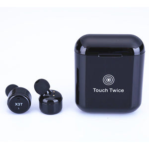 X3T Touch Control Wireless Bluetooth Headphones Universal HIFI Earphones Portable Mini Headset with Charge Box  black
