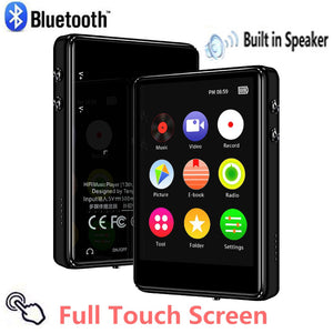 X62 Full Screen MP3 Bluetooth Player Student MP4 Ultra Thin 2.5 inch 420mAh USB 2.0 black