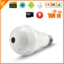 Load image into Gallery viewer, Wireless IP Camera Bulb Light 360 Degree 3D VR Mini Panoramic Home CCTV Security Bulb Camera IP 1.3 million pixels with 64G card