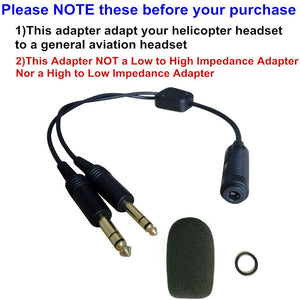 Helicopter to General Aviation Headset Adapter Adapt Helicopter Headset to General Aviation Free with Super High Density Sponge O-ring Suit