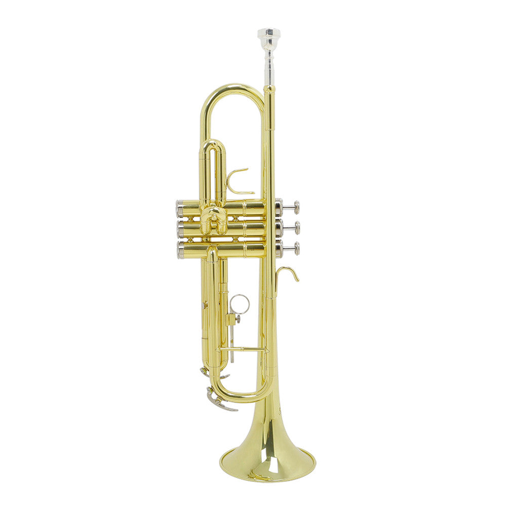 Golden Trumpet Bb B Flat Professional Brass Trumpet with Gloves Gold