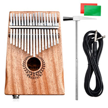 Load image into Gallery viewer, Muspor 17 Keys EQ Kalimba Mbira Mahogany Thumb Piano Finger Percussion EQ mahogany