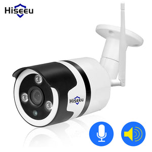 White Hiseeu Wifi Camera Outdoor Bullet HD 720P IP Camera Waterproof Wireless CCTV Video Recorder