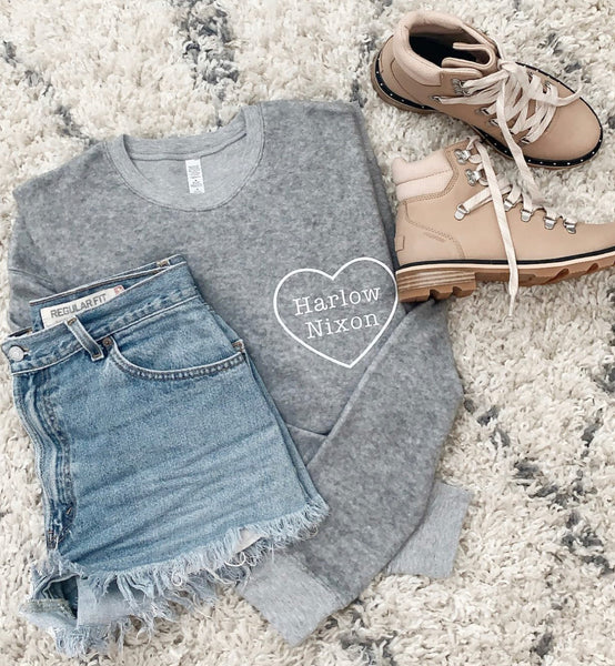 PERSONALIZED SUEDE HEART MOM SWEATER