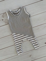 SALE Grey and white stripe romper