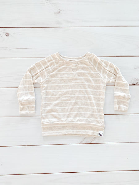 CREW NECK SWEATER - OATMEAL STRIPE