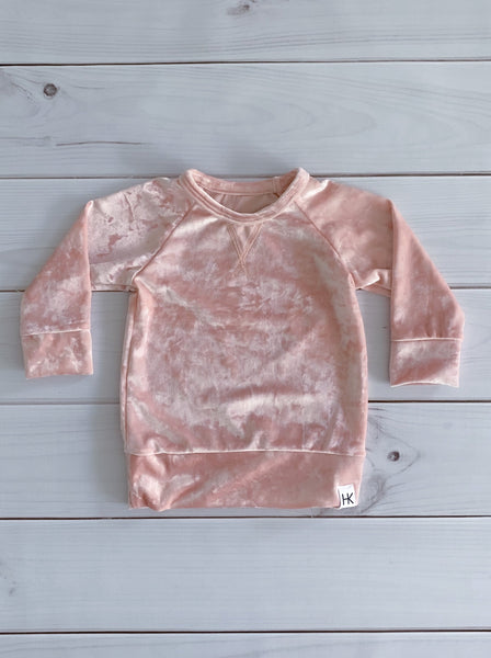 CREW NECK SWEATER - PINK CRUSHED VELVET