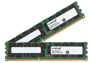 Crucial 32GB (2x 16GB) DDR3L-1600 PC3L-12800 1.35V / 1.5V DR x4 ECC Registered 240-pin RDIMM RAM Kit