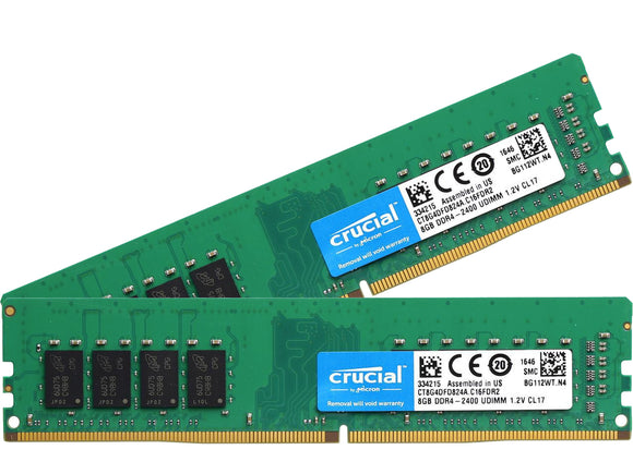 Crucial 16GB (2x 8GB) DDR4-2400 PC4-19200 1.2V DR x8 288-pin UDIMM RAM Kit