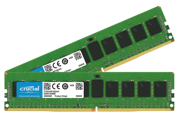Crucial 16GB (2x 8GB) DDR4-2400 PC4-19200 1.2V SR x8 ECC Registered 288-pin RDIMM RAM Kit