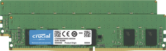Crucial 16GB (2x 8GB) DDR4-2666 PC4-21300 1.2V SR x8 ECC Registered 288-pin RDIMM RAM Kit