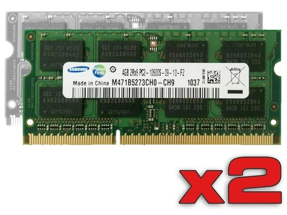 Samsung 8GB (2x 4GB) DDR3-1333 PC3-10600 1.5V DR x8 204-pin SODIMM RAM Kit