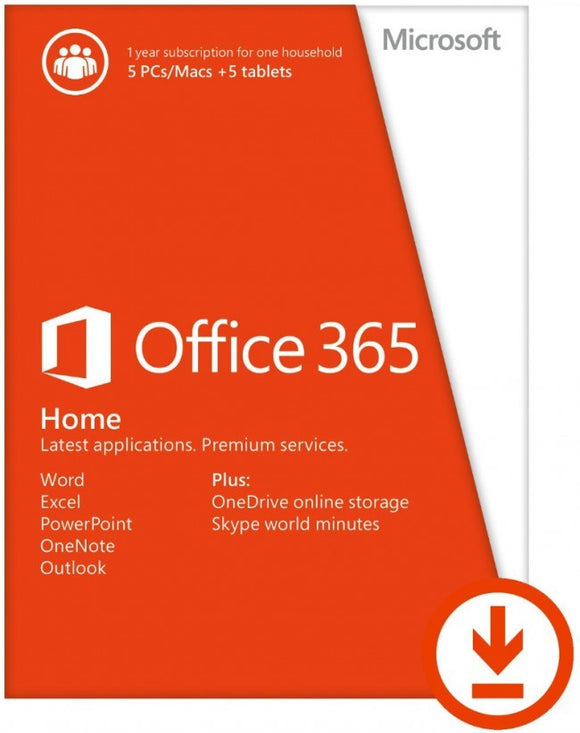 Microsoft Office 365 Home for 5 PCs or Macs Subscription License (1 Year) Digital Download