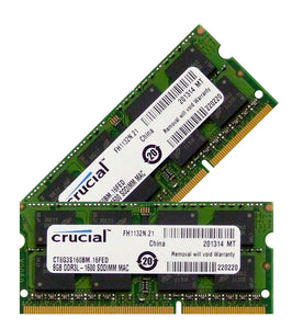 Crucial 16GB (2x 8GB) CL11 DDR3L-1600 PC3L-12800 1.35V / 1.5V DR x8 204-pin SODIMM RAM Kit for Mac (or PC)