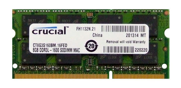 Crucial 8GB (1x 8GB) CL11 DDR3L-1600 PC3L-12800 1.35V / 1.5V DR x8 204-pin SODIMM RAM Module for Mac (or PC)