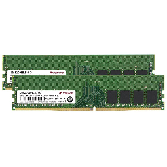 Transcend JetRam 16GB (2x 8GB) DDR4-3200 PC4-25600 1.2V 288-pin UDIMM RAM Kit
