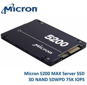 "Micron 5200 MAX 480GB 2.5"" SATA3 6Gbps 7mm Server Data Centre SSD 3D TLC NAND 540R/460W MB/s 93K/70K IOPS 5DWPD 3 Mil hrs 5yrs Crucial"
