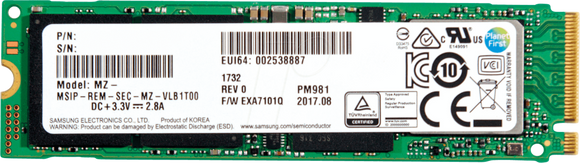 Samsung PM981 2TB NVMe M.2 PCIe 3.0 x4 80mm (2280) Internal SSD - OEM