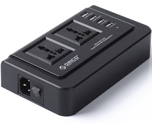 ORICO 2 AC Outlets and 4 USB Travel Power Board - Black (OPC-2A4U)