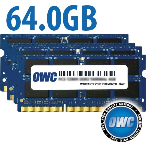 OWC 64GB (4x 16GB) CL11 DDR3L-1866 PC3L-14900 1.35V / 1.5V DR x8 204-pin SODIMM RAM Kit